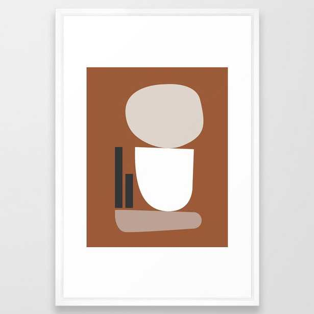 Shape Study #11 - Stackable Collection Framed Art Print by Mpgmb - Vector White - LARGE (Gallery)-26x38 - Society6