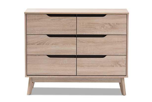 Baxton Studio Fella Mid-Century Modern Two-Tone Oak and Grey Wood 6-Drawer Dresser - Lark Interiors