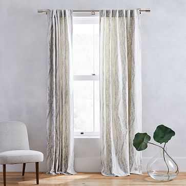 "Bark Texture Jacquard Curtain, Unlined, Pearl Gray, 48""x108"" - West Elm"