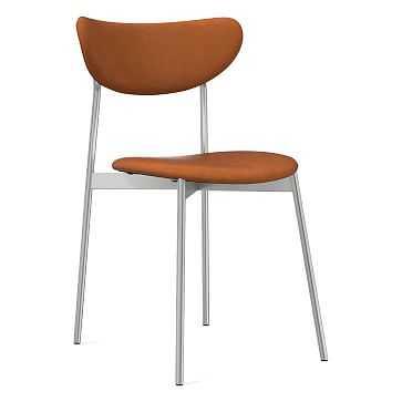 Modern Petal Fully Upholstered Dining Chair, Vegan Leather, Saddle, Chrome - West Elm