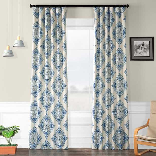 Exclusive Fabrics & Furnishings Semi-Opaque Henna Blue Blackout Curtain - 50 in. W x 96 in. L (Panel) - Home Depot
