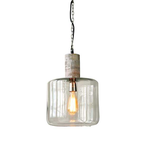Round Clear Glass & Mango Wood Hanging Pendant Light - Nomad Home