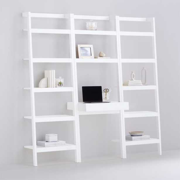 Sawyer White Leaning Desk with Two 24.5'' Bookcases - Crate and Barrel