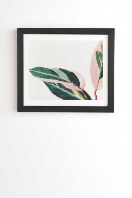 "Pink Leaves Ii by Cassia Beck - Framed Wall Art Basic Black 20"" x 20"" - Wander Print Co."