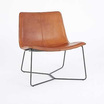 Slope Leather Lounge Chair, Saddle Leather, Nut, Charcoal, UPS - West Elm