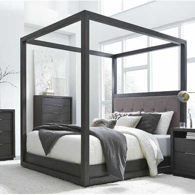 Tufted Solid Wood and Upholstered Low Profile Canopy Bed - Wayfair