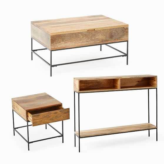 Industrial Storage Pop-Up Coffee Table, Skinny Console & Side Table Set, Raw Mango - West Elm