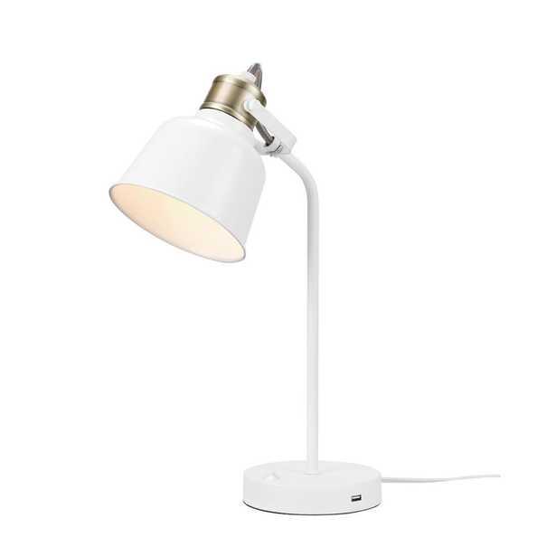 Globe Electric Dakota 18 in. Matte White with Brass Accents Desk Lamp - Home Depot