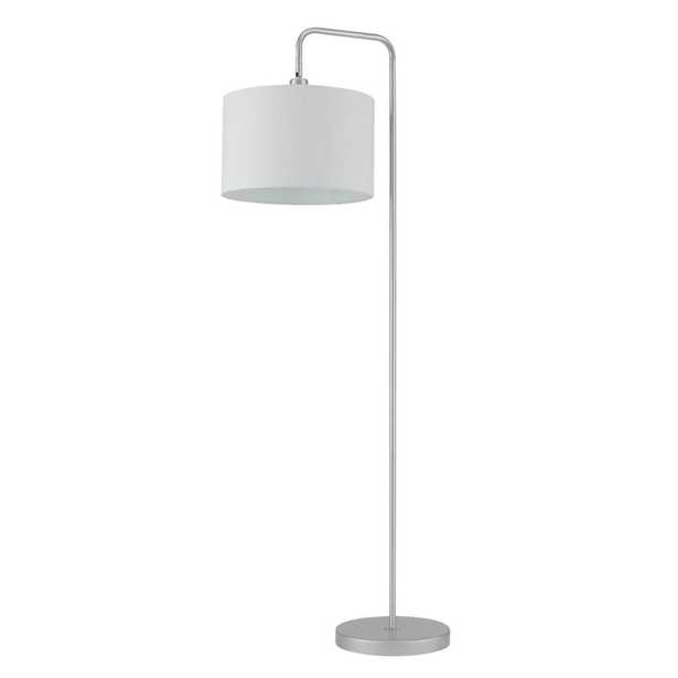 Globe Electric Barden 58 in. Silver Finish Floor Lamp with White Fabric Shade - Home Depot