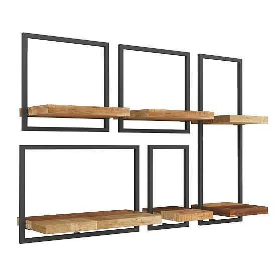 Shelfmate Oak & Black, Set of 5, Option A - Vertical - West Elm