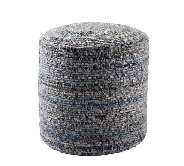 "Reyer Handwoven Indoor/Outdoor Pouf, 18"" x 18"" x 18"", Blue/Brown - Pottery Barn"