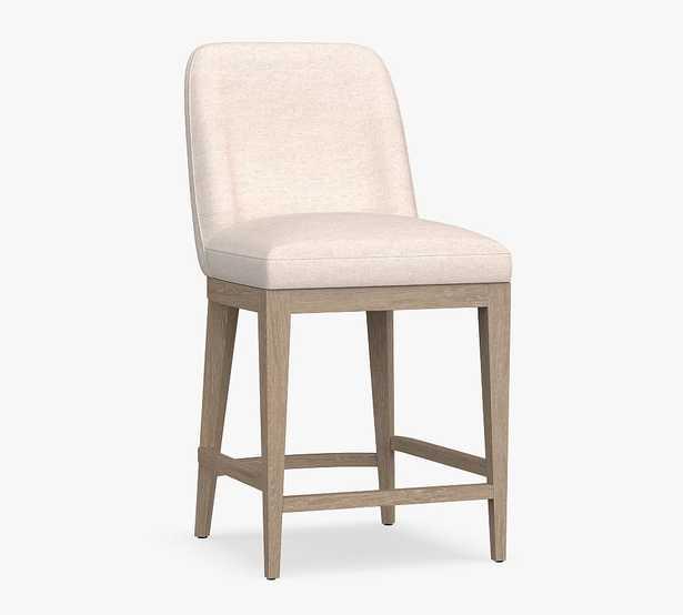 Layton Upholstered Counter Height Bar Stool, Seadrift Leg, Performance Heathered Tweed Ivory - Pottery Barn