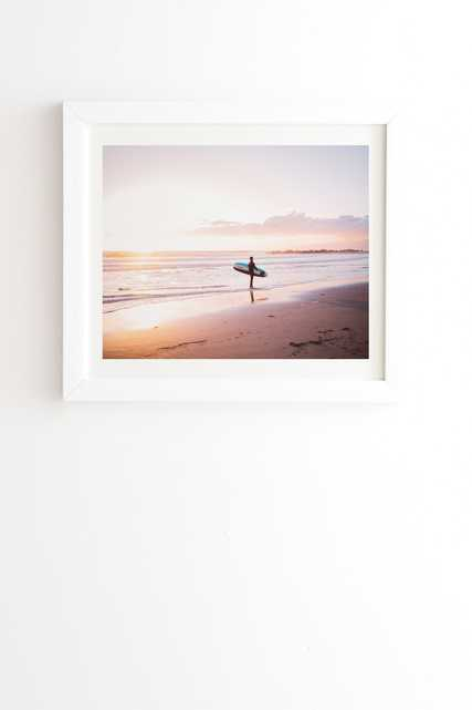 """Venice Beach Surfer by Bethany Young Photography - Framed Wall Art Basic White 8"""" x 9.5"""" - Wander Print Co."""