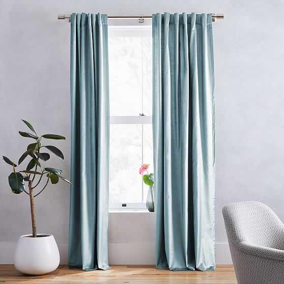 """Luster Velvet Curtain, Silver Mist, 48""""x108"""", Set of 2 - West Elm"""