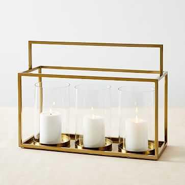 Simple Metal Lanterns, Triple, Brass - West Elm