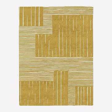 Painted Mixed Stripes Rug, 5x8, Horseradish - West Elm