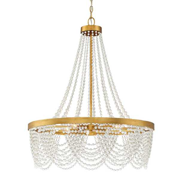 """Crystorama Fiona 27"""" Wide Antique Gold 4-Light Chandelier - Style # 83F43 - Lamps Plus"""