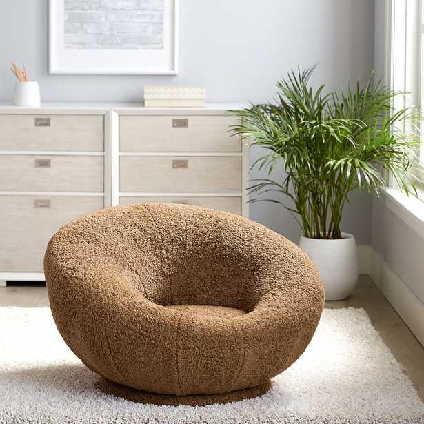 Teddy Bear Faux-Fur Groovy Swivel Chair, Brown - Pottery Barn Teen