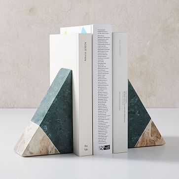Pieced Stone Bookends, Green + White - West Elm