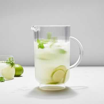 Fluted Acrylic Pitcher, Clear - West Elm