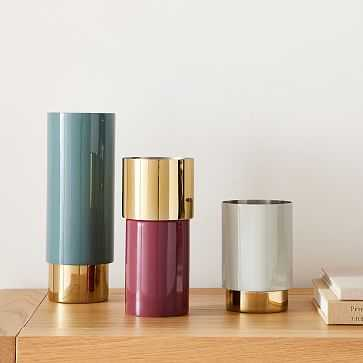 Brass And Enamel Tube Vase, Light Grey And Wine And Ocean, Small Medium And Large, Set of 3 - West Elm
