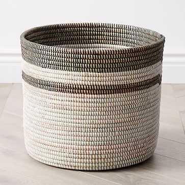Colorblock Basket Planters, Floor, White & Black, Woven, Large - West Elm
