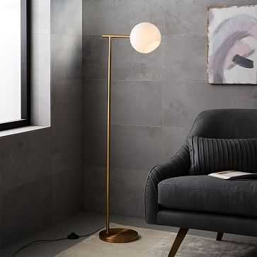 Staggered Glass Floor Lamp, Brass/Milk - West Elm