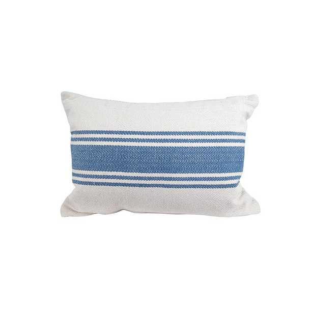20 in. Stripe Pillow Blue, Beige/Ivory - Home Depot