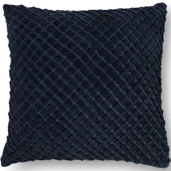 "Cris-Cros Velvet Throw Pillow, 22"" x 22"", Navy Blue - Loma Threads"