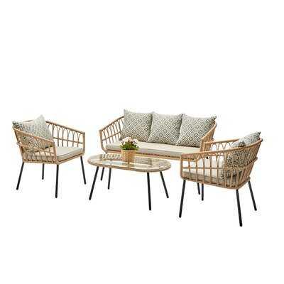 Troy 4 Piece Sofa Seating Group with Cushions - Wayfair