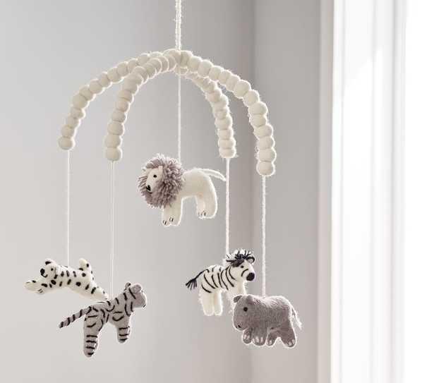 Safari Animals Felted Ceiling Mobile - Pottery Barn Kids