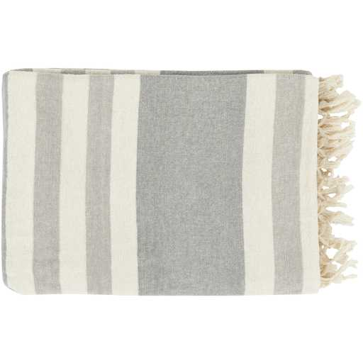 Perry Modern Classic Woven Light Grey Striped Cotton Throw Blanket - Kathy Kuo Home