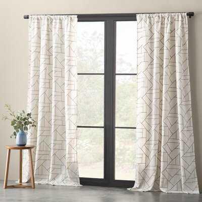 Embroidered Linen Geometric Semi-Sheer Rod Pocket Single Curtain Panel - AllModern