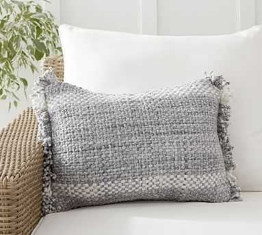 """Ixora Indoor/Outdoor Lumbar Pillow , 14 x 20"""", Blue Multi - Pottery Barn"""