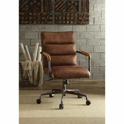 """Fanke 22"""" X 26"""" X 35""""~38""""H Office Chair Wheels Office Chair Cushions For Back And Butt With Channel-Seamed Retro Top Grain Leather Upholstery Metal Base With Casters And Frame Armrests, Foam And Ply Vintage Style ( Retro Brown ) - Wayfair"""