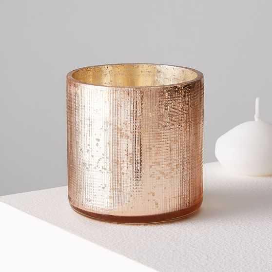Crosshatch Textured Mercury, Votive, Rose Gold, Set of 2 - West Elm