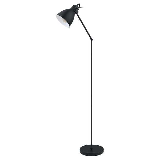 Eglo Priddy 54.33 in. Black Floor Lamp with Black/White Metal Shade - Home Depot