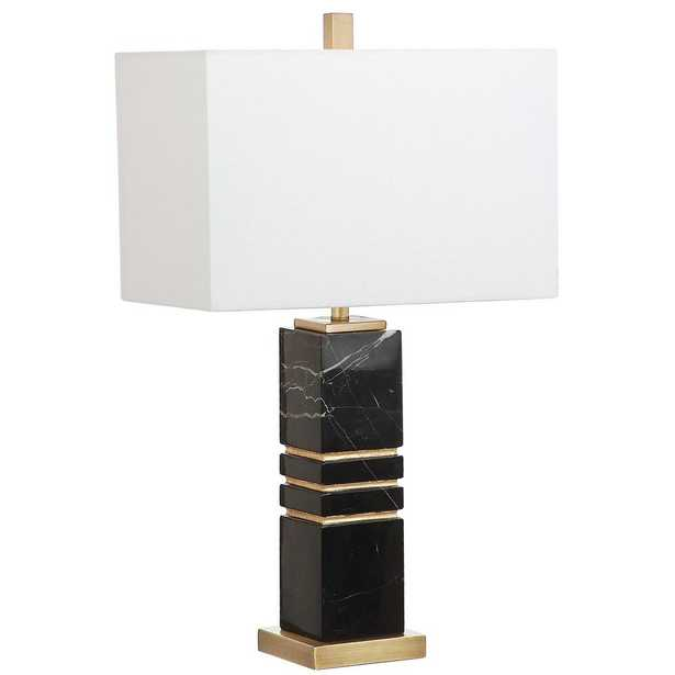 Safavieh Jaxton Marble 27.5 in. Black/Gold Table Lamp - Home Depot