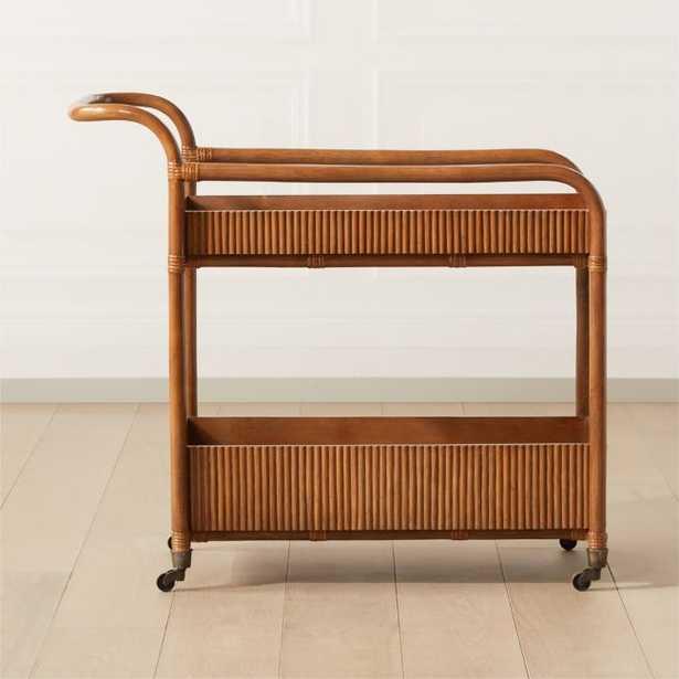Feliz Rattan Bar Cart - CB2
