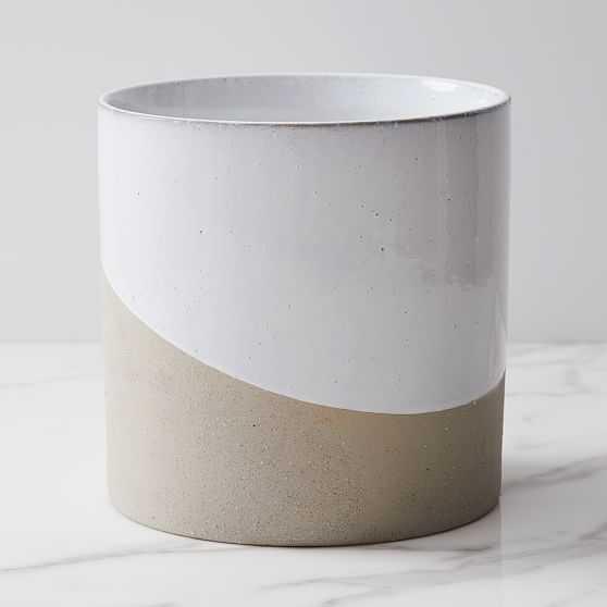 Pure Slope Planter, Concrete & Ceramic, Large, White - West Elm