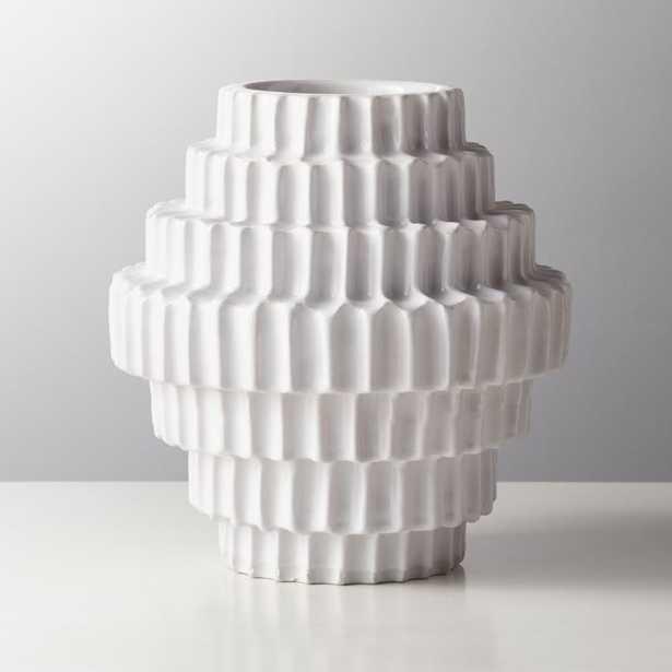 Dial White Shiny Vase - CB2