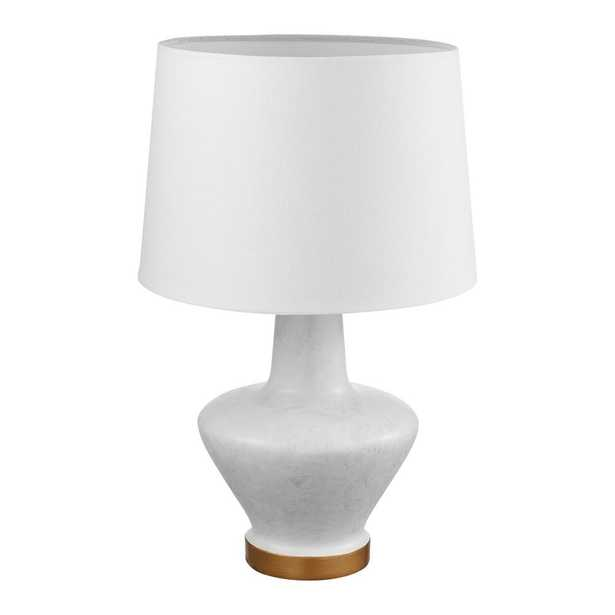 Globe Electric Serena 18 in. White Stone Finish Table Lamp with White Fabric Shade - Home Depot