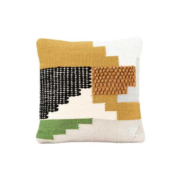 """Handwoven Wool Kilim Pillow, White, Yellow, Green & Black, 20"""" x 20"""" - Nomad Home"""