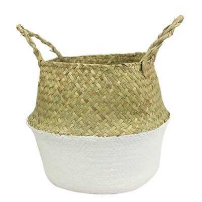 Seagrass Wickerwork Basket Rattan Foldable Hanging Flower Pot Planter Woven Dirty Laundry Basket Storage Basket Home Storage Decor Basket - Wayfair