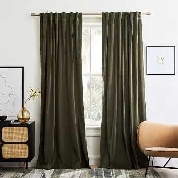 "Cotton Velvet Curtain, Dark Olive, 48""x84"", Set of 2 - West Elm"