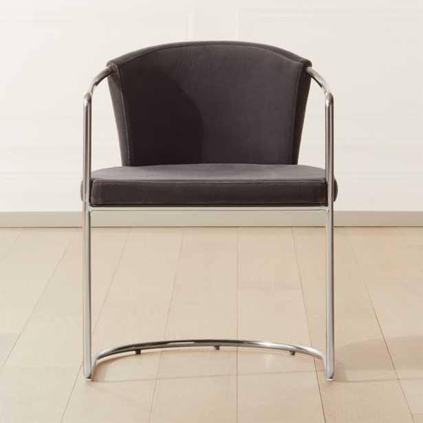 Cleo Grey Velvet Cantilever Chair - CB2