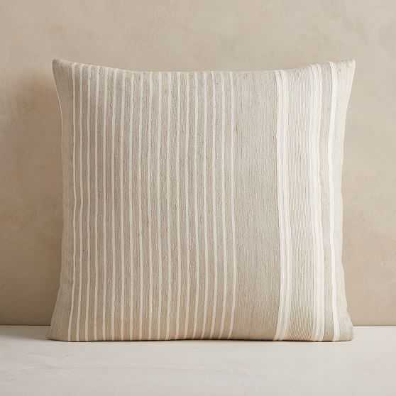 """Silk Variegated Stripe Pillow Cover, 24""""x24"""", Sand - West Elm"""