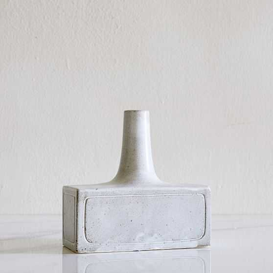 Textured Linework Vases, Small Rectangle, White & Natural-Individual - West Elm