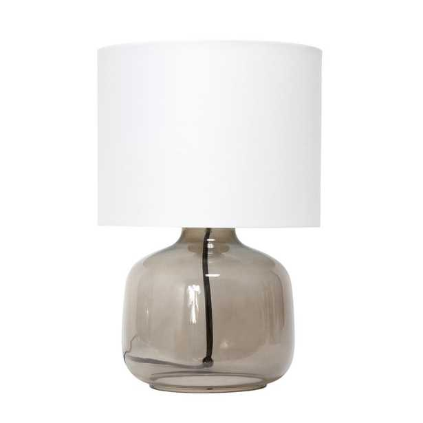 Simple Designs 13 inch Glass Table Lamp with Fabric Shade, Smoke with White Shade - Home Depot