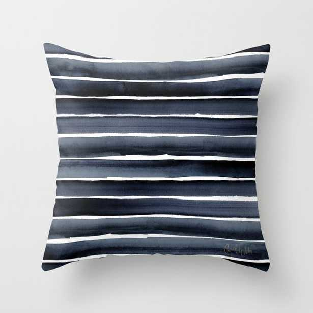 """Navy Indigo Watercolor Stripe Couch Throw Pillow by Crystal W Design - Cover (16"""" x 16"""") with pillow insert - Indoor Pillow - Society6"""